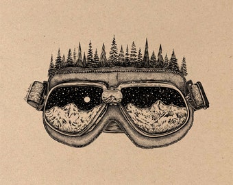 Forested Ski Goggles Fine Art Print on Toned Tan Paper