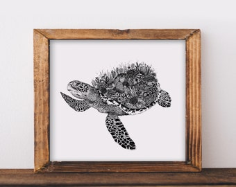 Coral Turtle Art Print