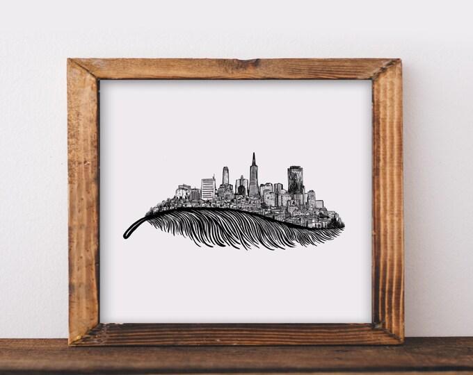 Feathered San Francisco Skyline Art Print