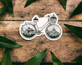 Mountainous Bicycle Vinyl Sticker