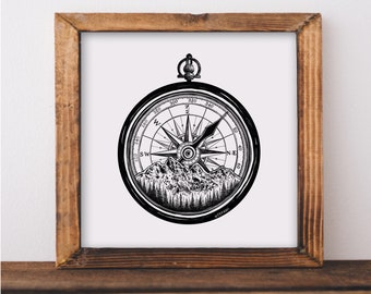 Mountainous Compass Fine Art Print