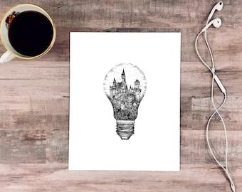 Light Bulb + Castle