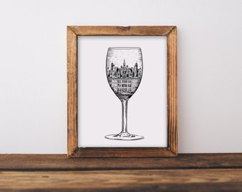 Loire Valley White Wine Glass (Chateau de Chambord, France) Fine Art Print