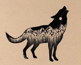 Mountainous Wolf Fine Art Print on Toned Tan Paper