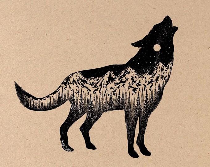 Mountainous Wolf Fine Art Print on Toned Tan Paper