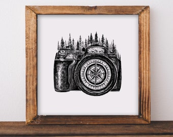 Forested Camera + Compass Fine Art Print