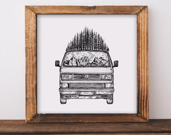 Forested Van (Front view) Fine Art Print