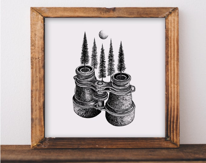 Forested Binoculars Art Print