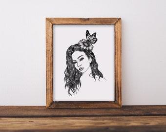 Woman + Butterfly Fine Art Print