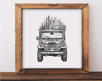 Cacti Cruiser Art Print