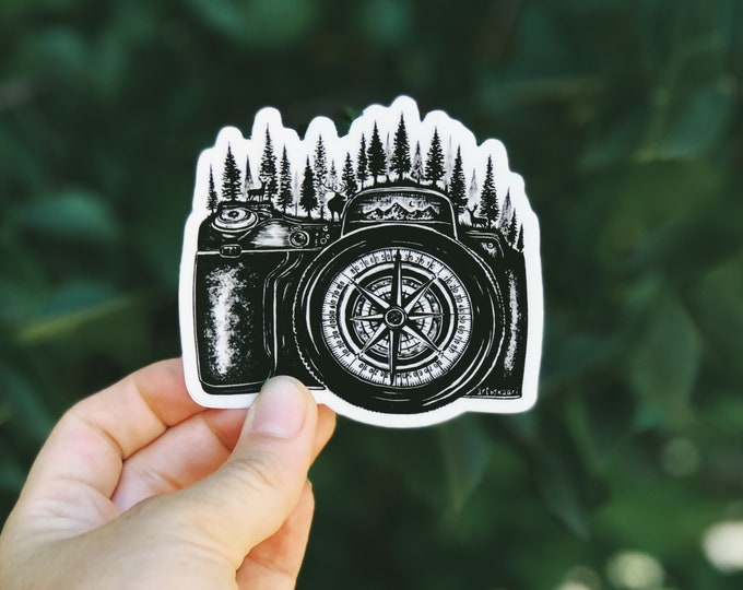Camera + Compass Vinyl Sticker