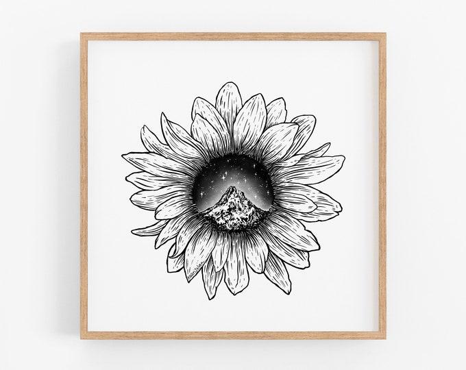 Mountain Sunflower Art Print