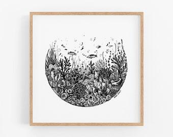 Coral & Sea Life Circle Art Print