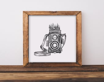 Vintage Forested Camera Fine Art Print