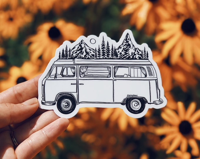 Featured listing image: Mountainous Van Vinyl Sticker, PNW-Inspired for Laptop, Waterbottle or Bumper Sticker Use