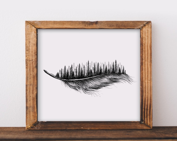 Feathered Treescape Art Print