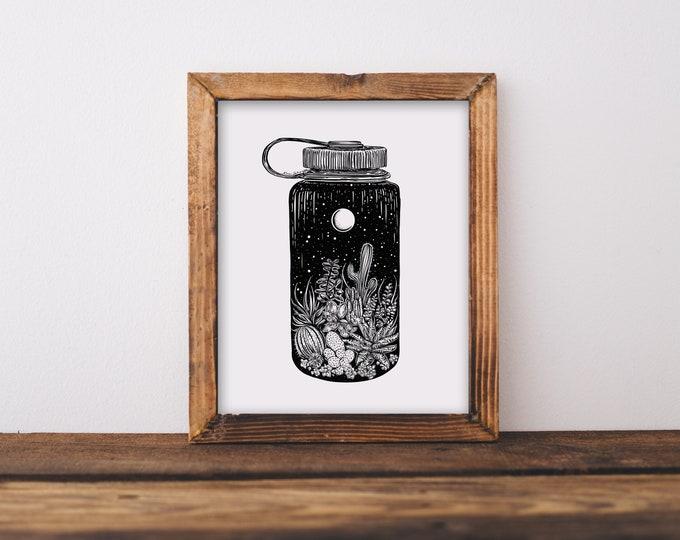 Cacti + Nalgene Art Print