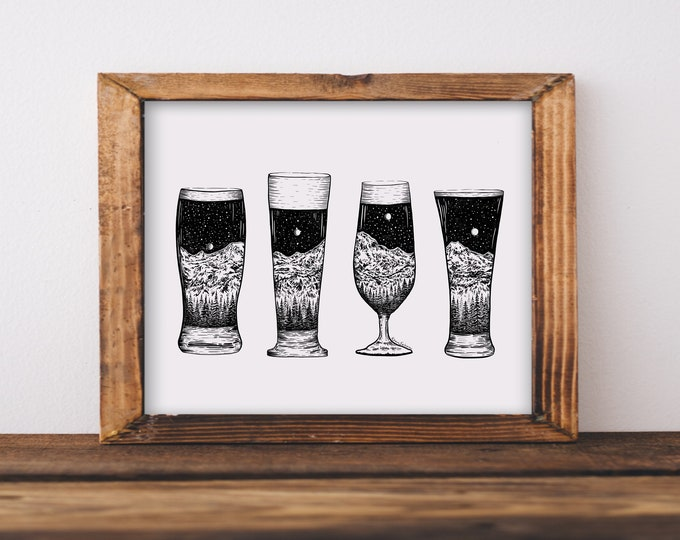 Mountainous Beer Glasses Fine Art Print
