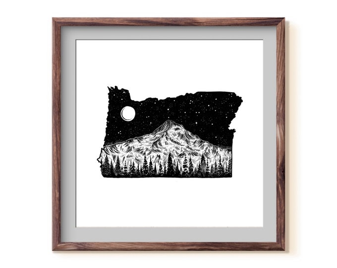 Featured listing image: Oregon + Mt. Hood Fine Art Print