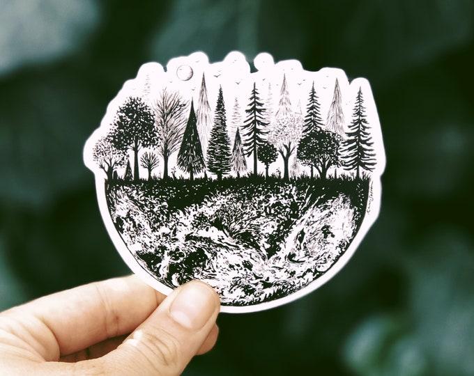 Earth Treescape Vinyl Sticker