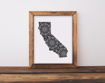 California + Mandalas Art Print