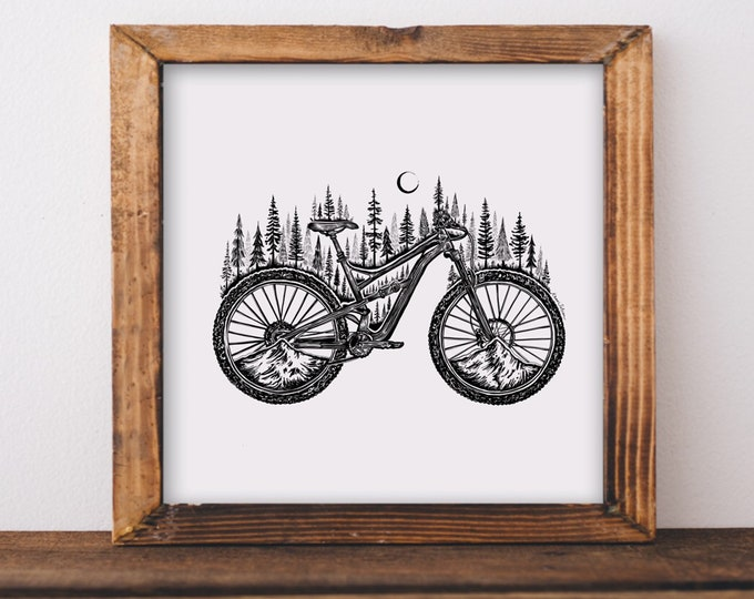 Featured listing image: Forested Bicycle Fine Art Print