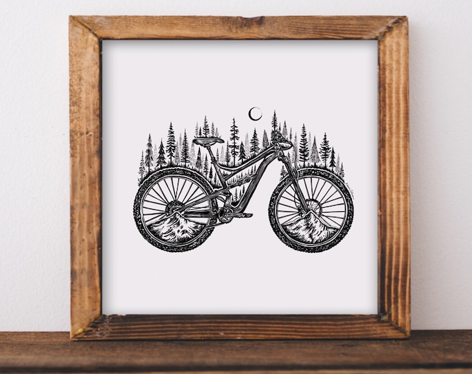 Forested Bicycle Art Print Camping