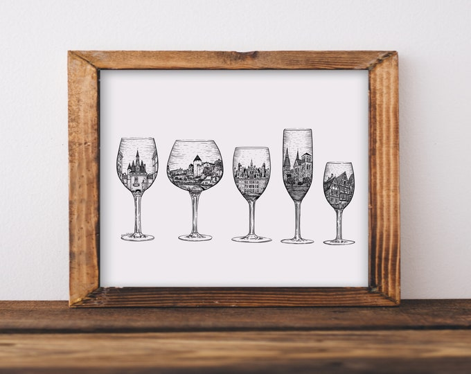French Wine Glasses + Architecture from France Fine Art Print