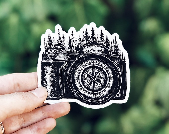 Featured listing image: Camera + Compass Vinyl Sticker