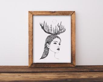 Woman + Antlers Fine Art Print