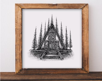 Forested A-Frame Art Print