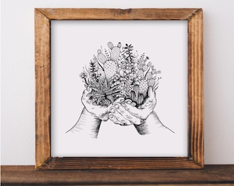Cacti and Succulent Hands Art Print