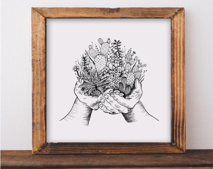 Cacti and Succulent Hands Art Print