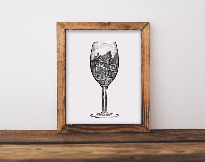 Alsace Dessert French Wine Glass (Strasbourg, France Houses) Art Print