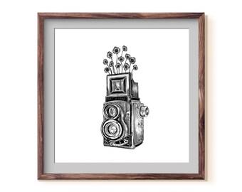 Floral Vintage Camera + Poppies