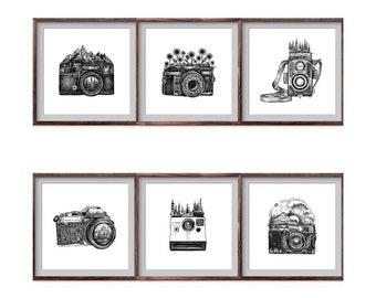 Set of 6 Camera Drawing Art Prints