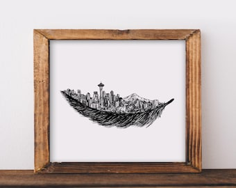 Feathered Seattle Skyline Art Print