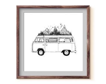 Mountainous Van II Fine Art Print