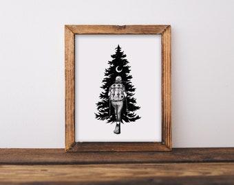Hiker + Tree Fine Art Print