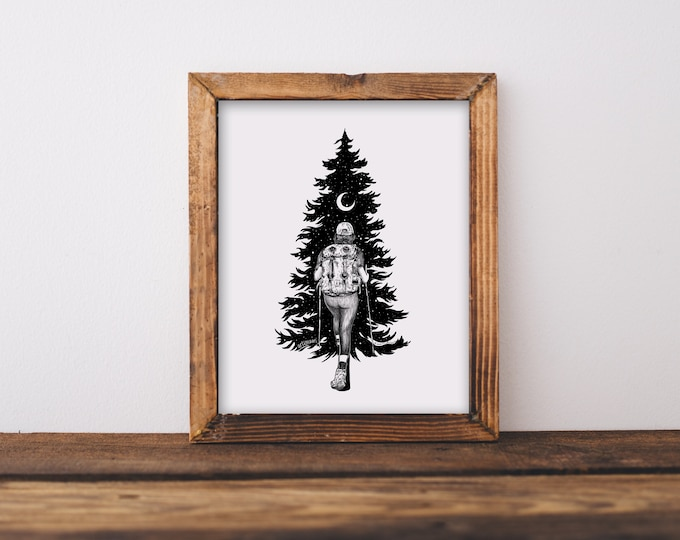 Hiker + Tree Fine Art Print