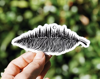 Forested Feather Vinyl Sticker