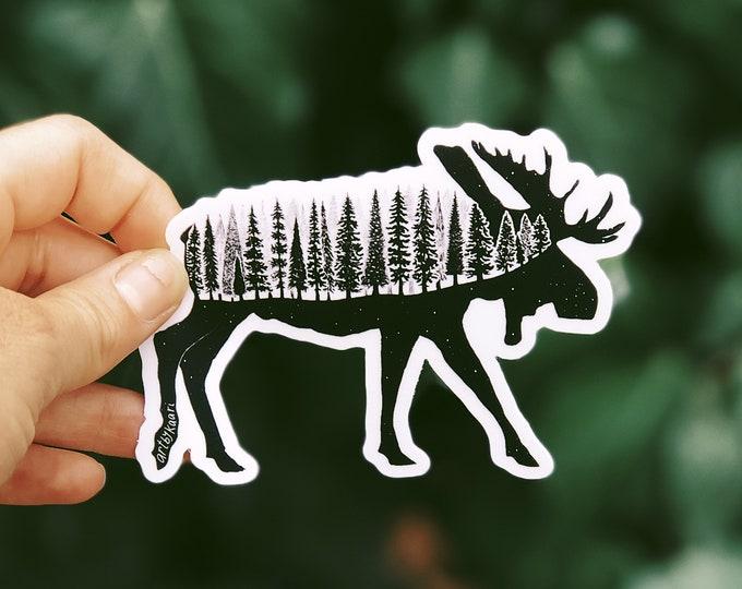 Forested Moose Vinyl Sticker