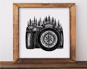Forested Camera + Compass Art Print