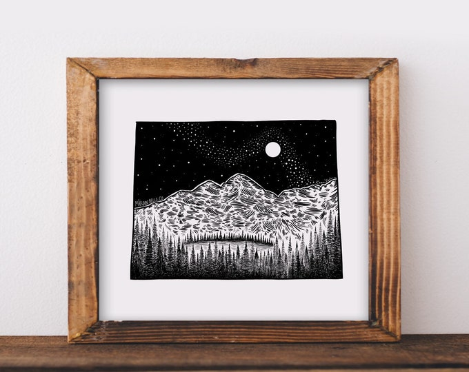 Maroon Bells + Colorado State Outline Fine Art Print