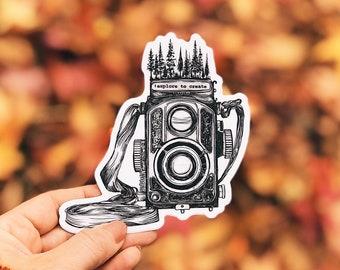 Vintage Forested Camera Vinyl Sticker