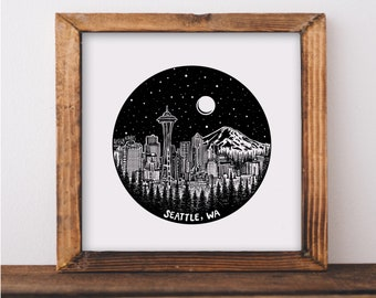 Seattle, Washington Skyline Fine Art Print