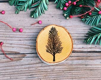 Tree III Individual Wood Coaster (Handmade, Individually-Stamped, Natural Birch Coaster)