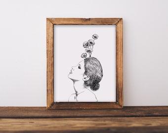 Floral Woman II Fine Art Print