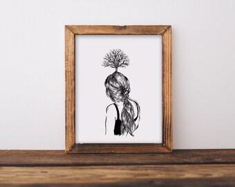 Oak Tree Girl Fine Art Print