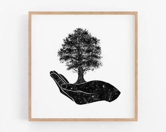 Tree in Hand Art Print